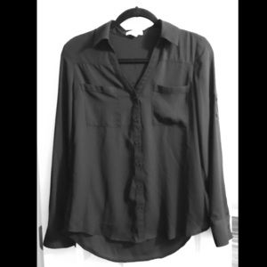 Black button up express blouse